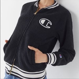 Sherpa Black Bomber Jacket from Champion
